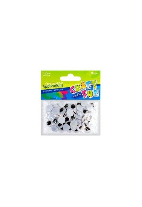 Ματάκια Χειροτεχνίας μαύρα 12mm